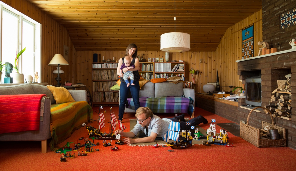 Playing with Lego.